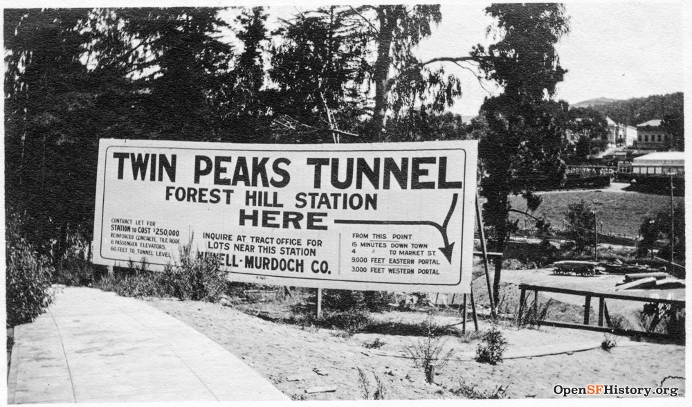 Sign marking future site of Forest Hill Station on August 20, 1915.