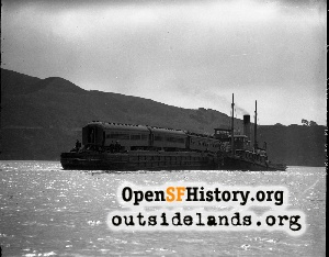 Prison train barge leaving for Alcatraz