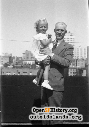 Man & girl on roof,1938