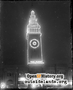 Ferry Building at night,1900c