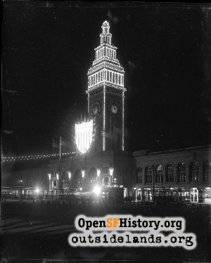 Ferry Building at night,1908