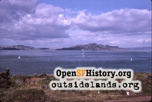 Angel Island from GGB Toll Plaza,Feb 1964