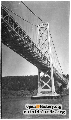 Bay Bridge from bay,1940
