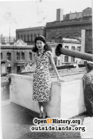 Chinese woman on rooftop