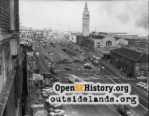 Embarcadero closed at Ferry Building,1957