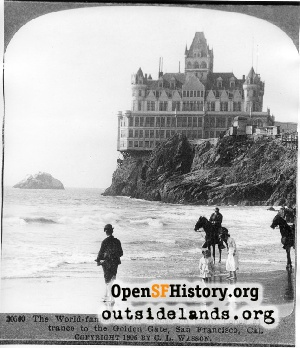 Second Cliff House from Ocean Beach,1906