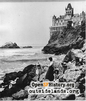 Second Cliff House from Ocean Beach,1900c