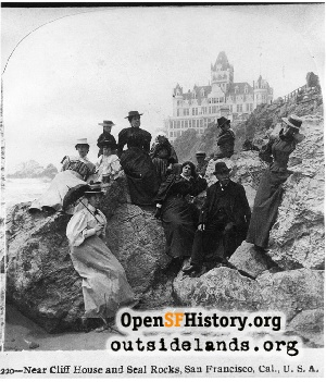 Visitors on Ocean Beach,1900c