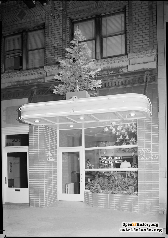 Entrance to Hotel Chronicle on Mission near 5th Street, 1950s.