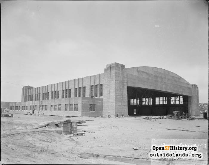 West airplane hanger under construction on Treasure Island, July 30, 1937.