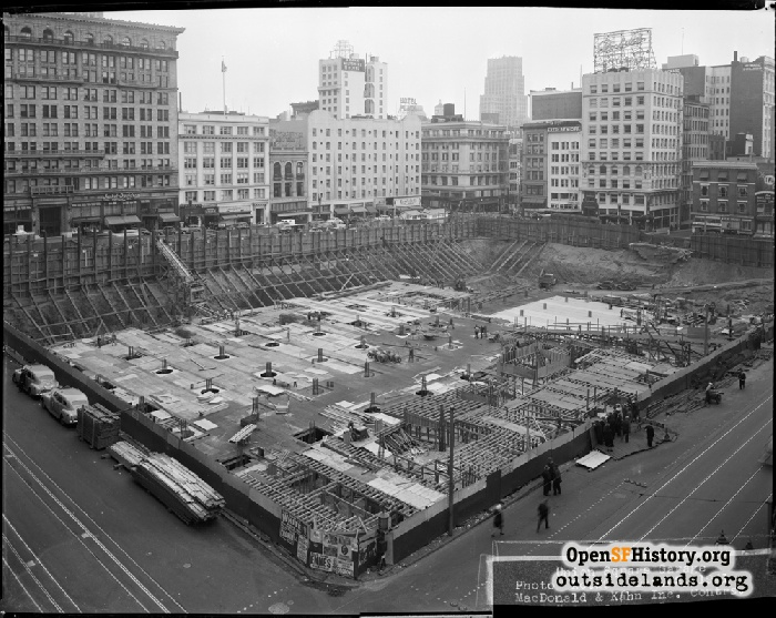 Union Square Garage Construction, view northeast from Powell and Geary.
