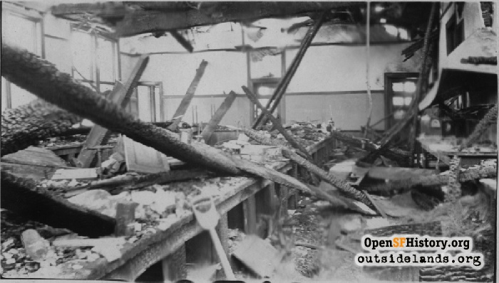 Interior view of Mission High School fire damage, January 1922.