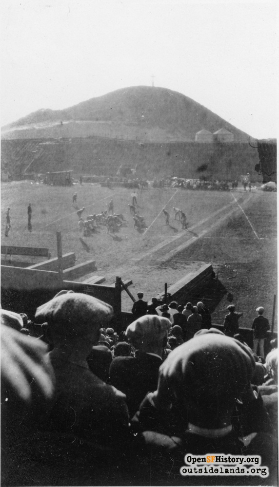 Football game at Ewing Field with Lone Mountain in background, circa 1923.