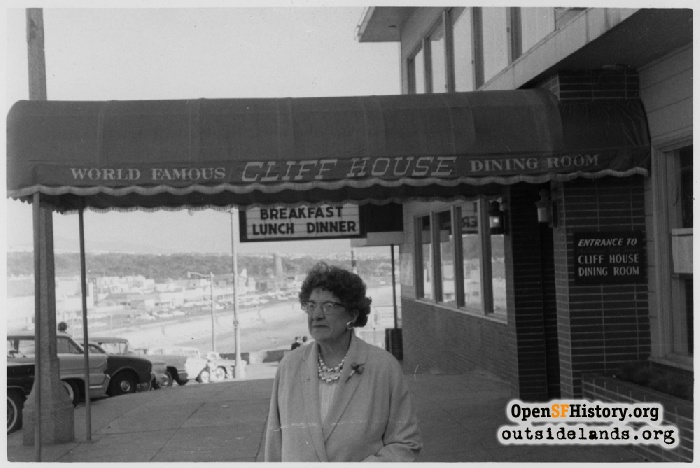 Cliff House entrance awning, view south, 1962.