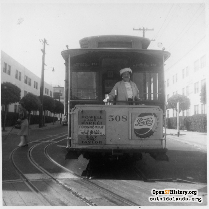 Cable Car #508 at Bay and Taylor turntable, 1962.