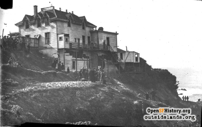 Damaged Cliff Cottage after explosion of the Parallel, January 1887.