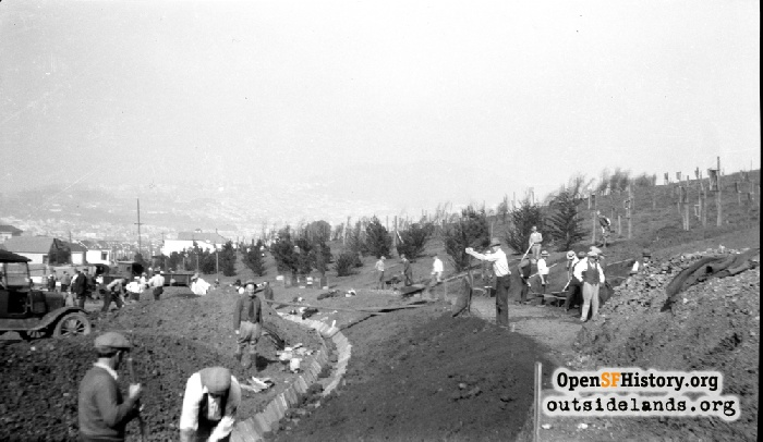 Grading, irrigation, and tree planting work on Brazil Drive in McLaren Park, March 1934.