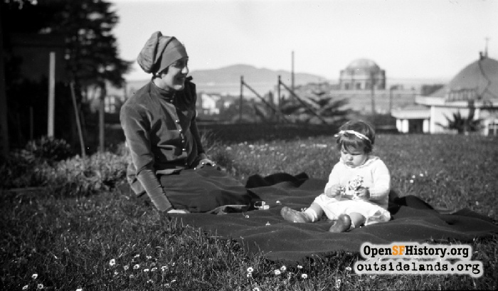 Irene Canby LeRoy with daughter Peggy on the lawn of Colonel James Canby's Presidio of San Francisco residence, c. 1926.