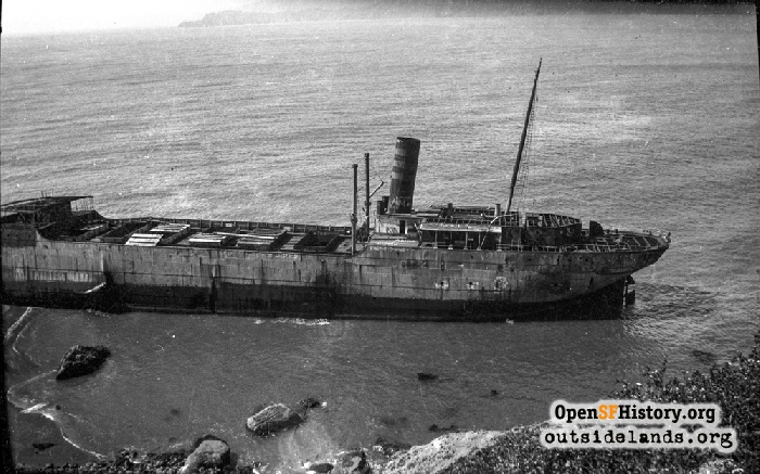 The Coos Bay shipwreck at Lands End, 1927.