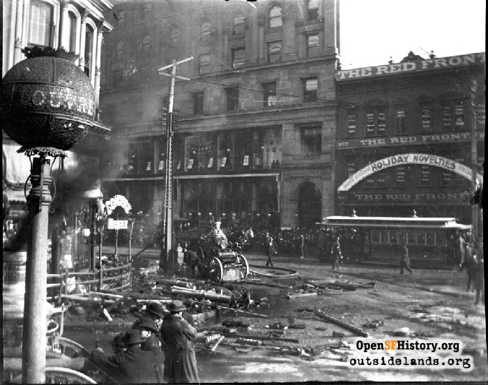 One of the two negatives that caught our attention showing fire wagons pumping out water after the Baldwin Hotel fire in 1898.