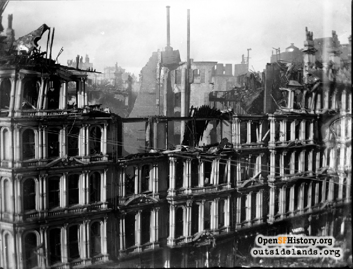 The Baldwin Hotel hollowed by fire, November 23, 1898.