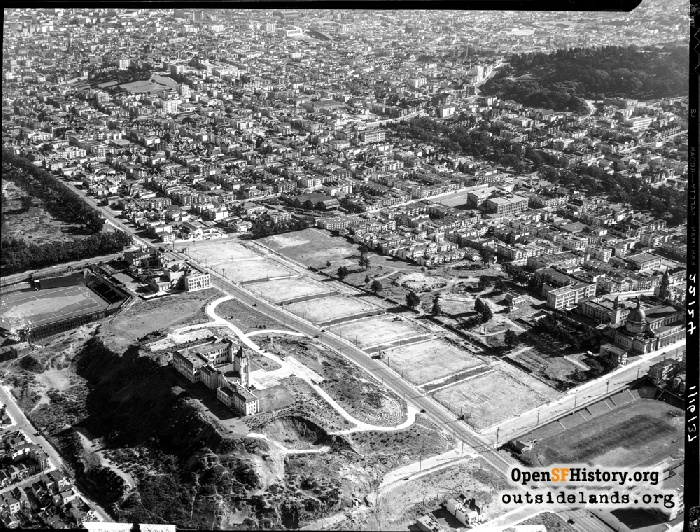 Aerial of Lone Mountain with Ewing Field at center-left, January 16, 1937.