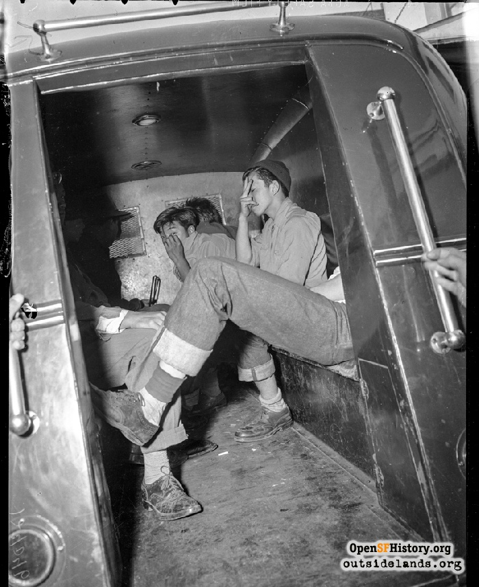 Teens in paddy wagon on Grant Street near Pacific, September 30, 1943.
