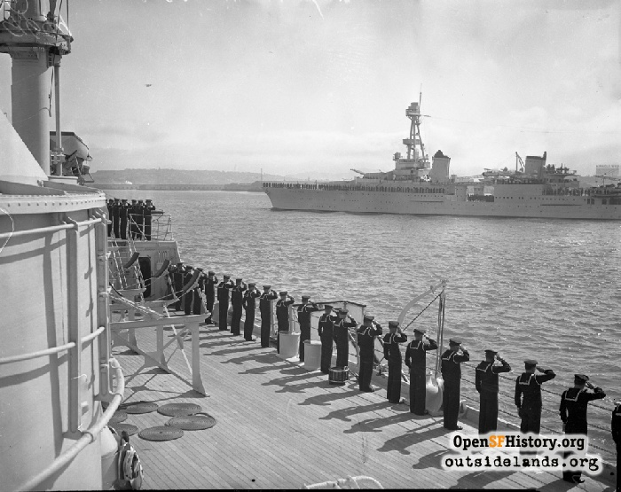 Crew of sailors saluting President Roosevelt, July 14, 1938.