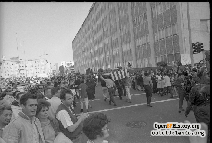 Protesters gathering in front of State of California Building on Golden Gate Avenue, March 15, 1965.
