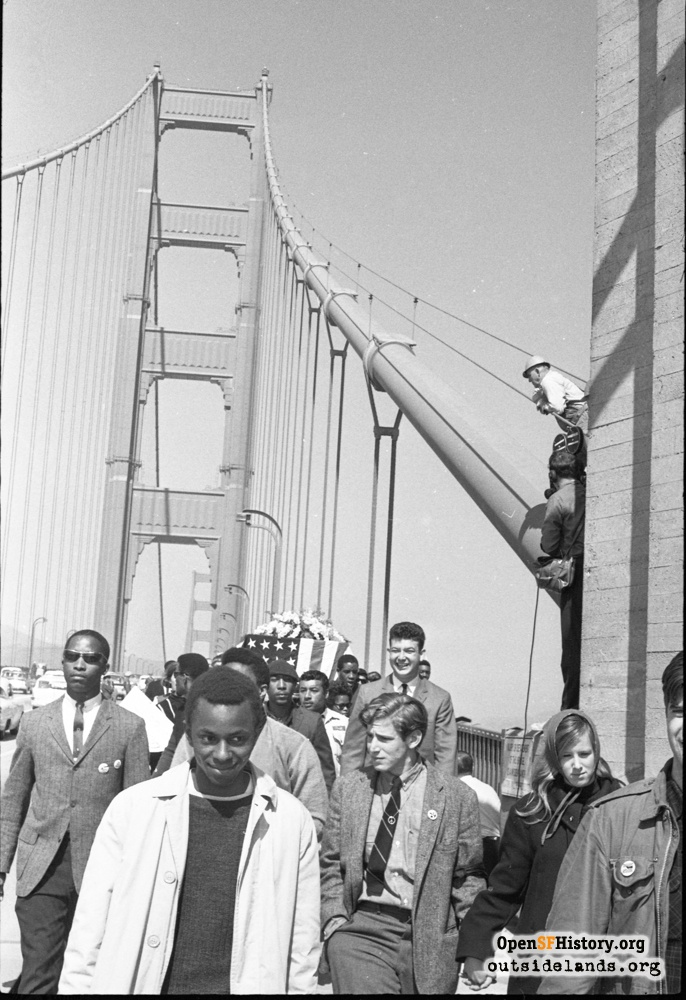 Protesters mostly across Golden Gate Bridge, March 15, 1965.