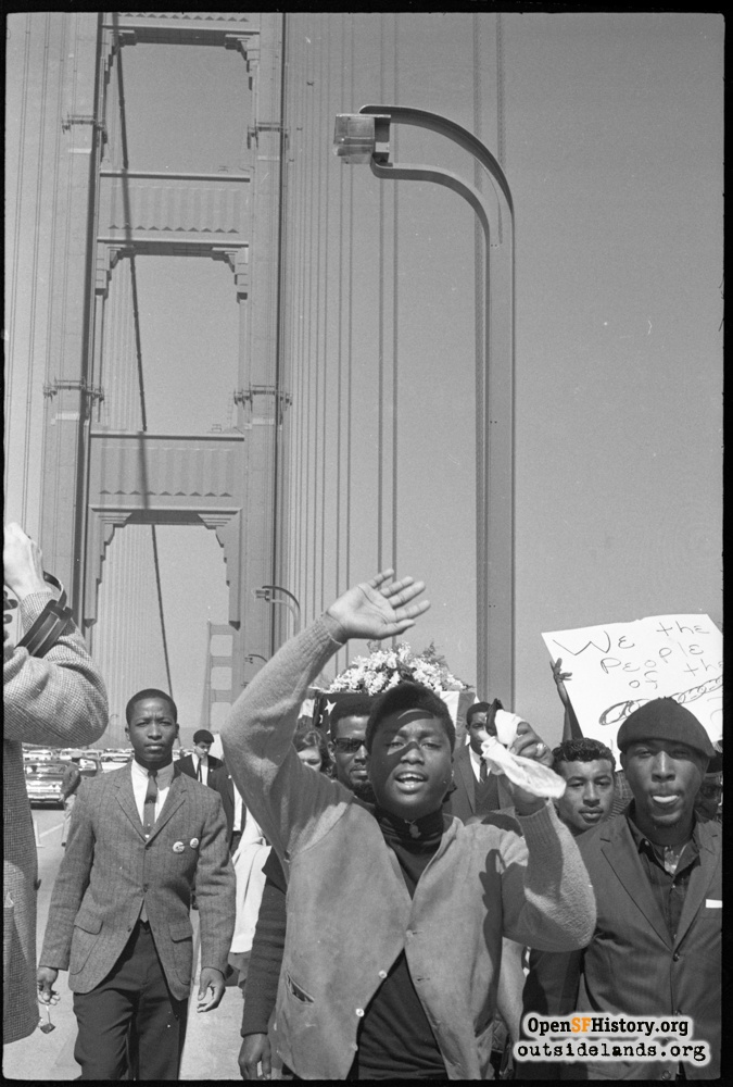 Protesters nearing middle of the Golden Gate Bridge, March 15, 1965.
