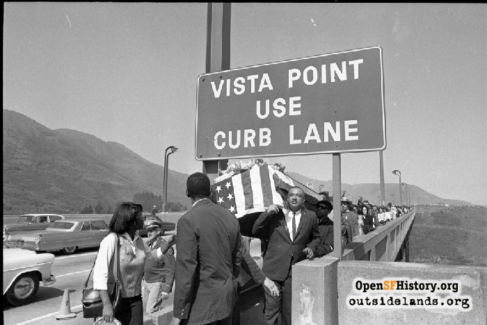Protesters beginning march across Golden Gate Bridge, March 15, 1965.