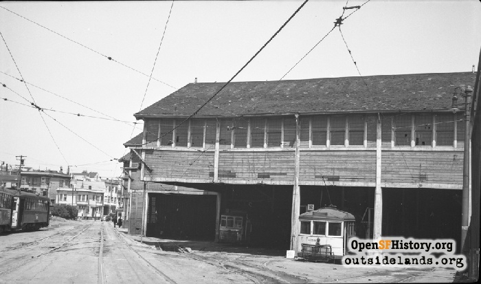 McAllister Car Barn on last day of operation, June 5, 1948.
