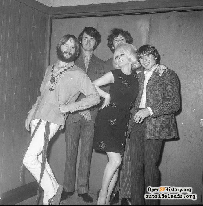 The Monkees and Carol Doda at Bardelli's Restaurant, 1968.