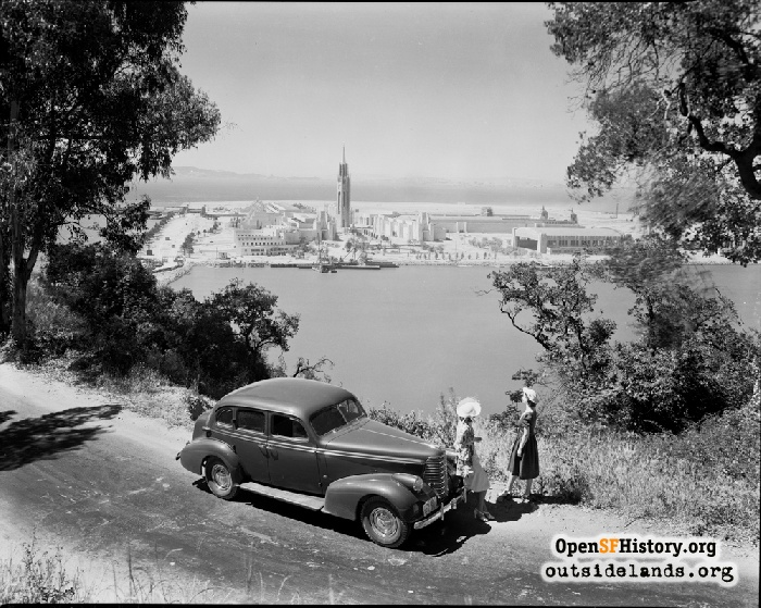Oldsmobile on Yerba Buena Island, 1938. Treasure Island and GGIE under construction.