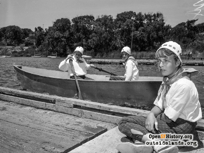 Girl scouts in rowboat on Lake Merced, June 25, 1958.