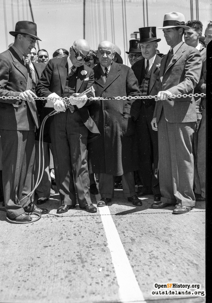 Mayor Rossi cutting chain at Golden Gate Bridge opening, May 28, 1937.
