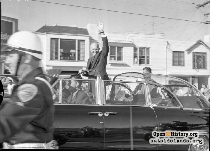 President Eisenhower on Geneva Avenue on way to Cow Palace for Republican National Convention, August 23, 1956.