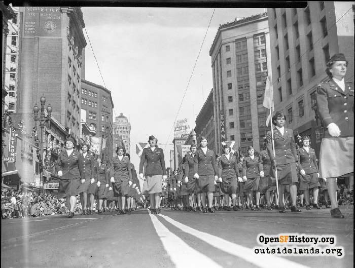 WACS marching in Portoal Festival at Market and Kearny, October 17, 1948.
