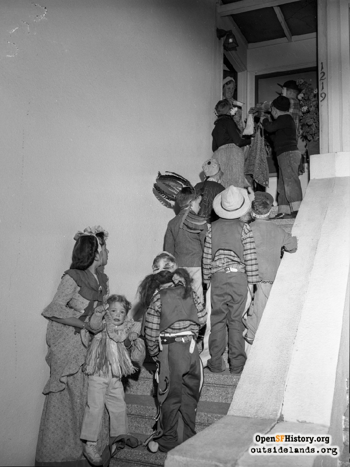 Trick-or-treaters on steps of 1219 34th Avenue, October 31, 1946.