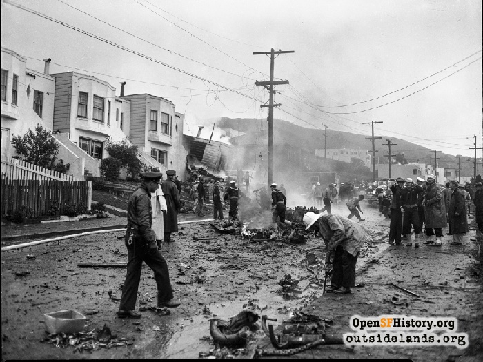 Military and law enforcement examine wreckage after Daly City plane crash, December 5, 1943.