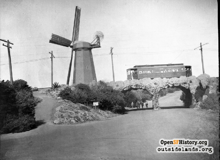 Murphy Windmill and streetcar on overpass above [then] South Drive, 1908.