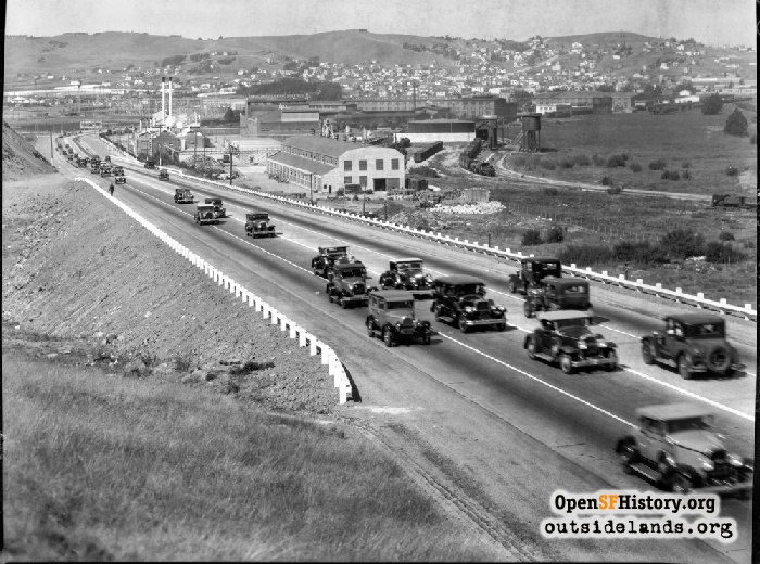 View north of Bayshore Highway toward Visitacion Valley, circa 1935.