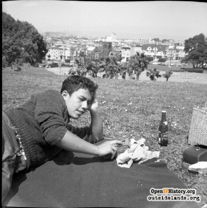 Teen in Dolores Park with transistor radio, 1964.