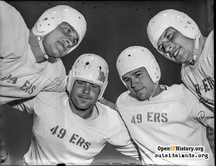 San Francisco 49ers' backfield of (L-R) Len Eshmont, Norm Standlee, Frankie Albert and John Strzykalski, August 1946.