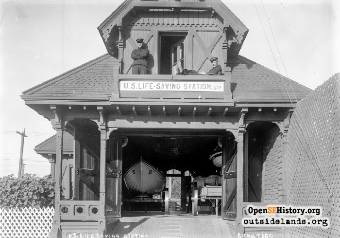 U.S. Lifesaving Station. Close-up of building with uniformed staff, circa 1910.