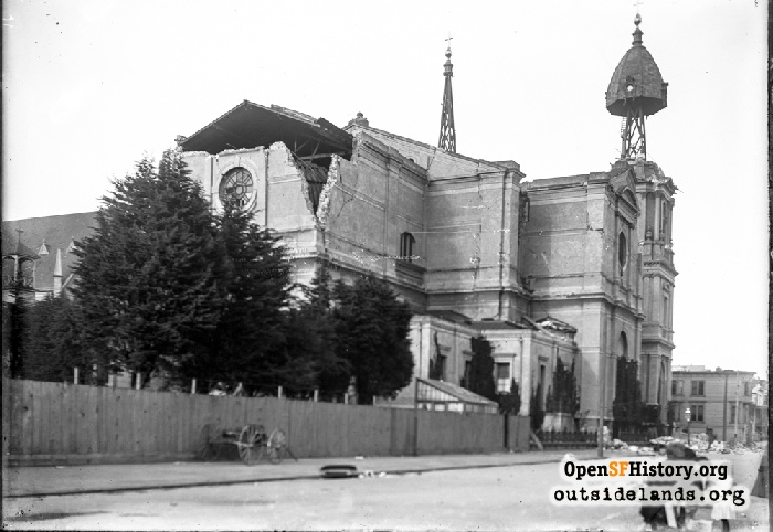 View east on Bush Street to earthquake damage of St. Dominic's Church on corner of Steiner Street, April 1906.