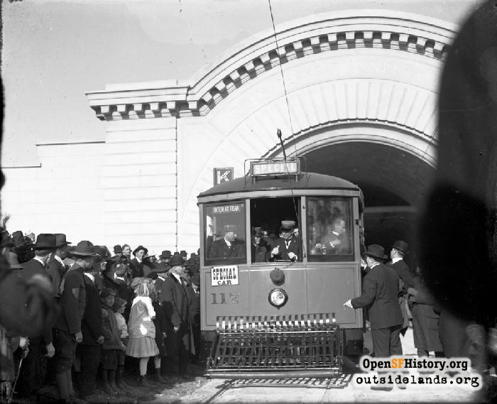 Mayor Rolph driving first streetcar through Twin Peaks Tunnel, February 3, 1918.