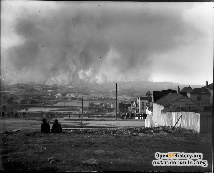 View north at fires from Arkansas near 20th Street, April 18, 1906.