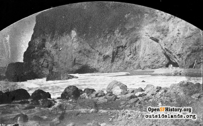 Lands End beach and Lynn's cave, circa 1896.